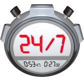 24 timmar om dagen klocka för tidmätare för sju dagar veckastoppur Arkivbild