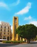 Timmar på en huvudsaklig fyrkant av Beirut Arkivfoton