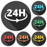 24 timmar rund symbolsuppsättning med lång skugga Arkivbild