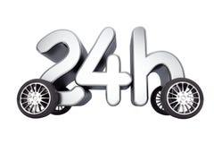 24 timmar service och leveransbegrepp på hjul framförande 3d Arkivbild
