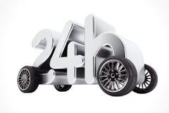 24 timmar service och leveransbegrepp på hjul framförande 3d Royaltyfri Fotografi