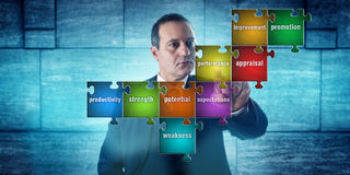 Timme-chefSelecting Performance Appraisal uttryck royaltyfria bilder