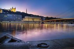 Timme för Lyon stadsblått Arkivbild