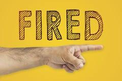 Timme som avfyrar anställdbegrepp Representativt peka för timme på dörren royaltyfria bilder