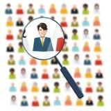 Timme som söker efter arbetaren i folkmassa royaltyfri illustrationer