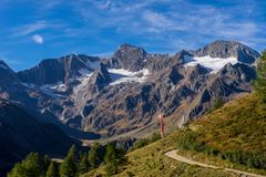 Mountains, peaks and trees landscape, natural environment. Timmelsjoch High Alpine Road. Timmelsjoch High Alpine Road landscape. Mountains and peaks covered with royalty free stock photos