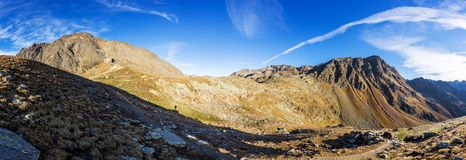 Mountains, peaks and trees landscape, natural environment. Timmelsjoch High Alpine Road. Timmelsjoch High Alpine Road landscape panorama. Mountains and peaks royalty free stock photos
