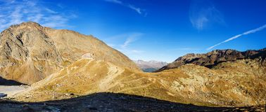 Mountains, peaks and trees landscape, natural environment. Timmelsjoch High Alpine Road. Timmelsjoch High Alpine Road landscape panorama. Mountains and peaks royalty free stock image