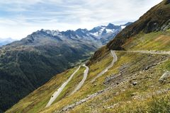 Timmelsjoch. Italian Passo del Rombo is an Alpine road saddle located on the border of Austria and Italy stock images