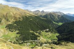 Timmelsjoch. Italian Passo del Rombo is an Alpine road saddle located on the border of Austria and Italy stock image