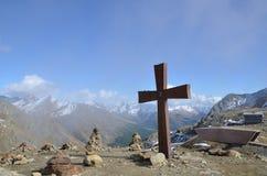Timmelsjoch passerande i södra Tyrol (Österrike) Border mellan Österrike och Italien Royaltyfria Bilder