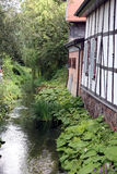 Timmer inramad framdel längs floden Fotografering för Bildbyråer