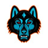 Timmer Wolf Head Sports Mascot Arkivfoto