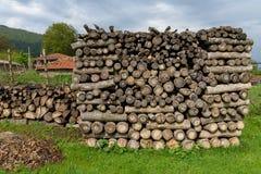 Timmerhout voor brand of het verwarmen in de winter wordt gesneden die Royalty-vrije Stock Foto