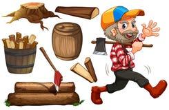 Timmerhouthefboom en hout Royalty-vrije Stock Fotografie