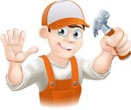 Timmerman of bouwer met hamer stock illustratie