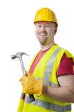 Timmerman Contractor Man Hardhat op Wit wordt geïsoleerd dat Stock Fotografie