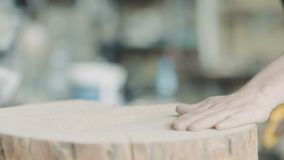 Timmerman Cutting Wood With Handsaw in Workshop stock videobeelden