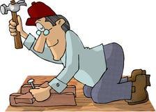 Timmerman die een hamer gebruikt royalty-vrije illustratie