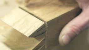 Timmerman die een houten spatie met een Japanse zaag zagen stock footage