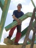 Timmerman door het werk stock foto