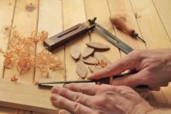 Timmerwerk en Schrijnwerkerijhulpmiddelen stock afbeelding