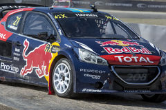 Timmy HANSEN. Peugeot 208. Barcelona FIA World Rallycross Royalty Free Stock Images