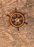 Timón en el mapa viejo (región de la ANSA) Imagenes de archivo