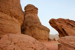 timna en pierre de sculptures rouges de l'Israël Image libre de droits