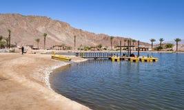 Timna jezioro w Timna parku w Arava pustyni w Izrael zdjęcie stock