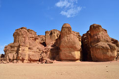 Timna park, Israel. Solomons Pillars, Timna park, Israel. The pillars were formed over 500 million years ago by rain penetrated into fissures in the sandstone Stock Photography