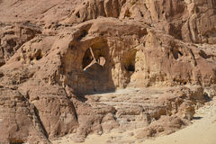 Timna valley, the arch. The Arches are natural arches formed by erosion,  and can be seen along the western cliff of the valley in Timna national park, Israel Stock Photos