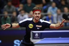 Timo Boll from Germany backhand Royalty Free Stock Photo