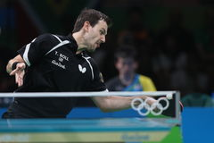 Timo Boll playing table tennis at the Olympic Games in Rio 2016. Timo Boll from Germany at the Olympic Games in Rio 2016 Royalty Free Stock Photo