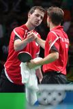 Timo Boll playing table tennis at the Olympic Games in Rio 2016. Timo Boll from Germany at the Olympic Games in Rio 2016 Stock Photo
