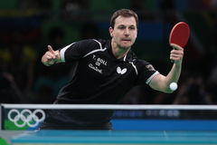 Timo Boll playing table tennis at the Olympic Games in Rio 2016. Timo Boll from Germany at the Olympic Games in Rio 2016 Stock Image