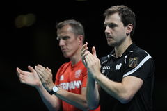 Timo Boll playing table tennis at the Olympic Games in Rio 2016. Timo Boll from Germany at the Olympic Games in Rio 2016 Stock Photography