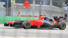 Timo Glock участвуя в гонке в GP F1 Сингапур Стоковое фото RF