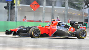 Timo Glock racing in F1 Singapore GP Royalty Free Stock Photo