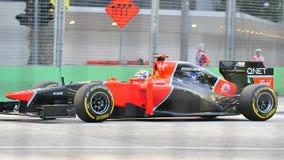 Timo Glock som är tävlings- i GP för F1 Singapore Royaltyfri Foto