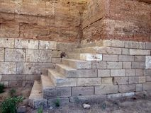 Timoleontee walls in gela. Archaeological park in the south of sicily, ruins of greece dominance Stock Photography