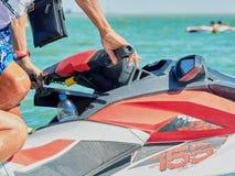 Timone di un motociclo dell'acqua Immagini Stock Libere da Diritti