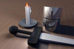 Timone, spada e candela illustrazione di stock