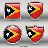 Timor Leste Flag dans la collection de 4 formes avec le chemin de coupure Photos stock