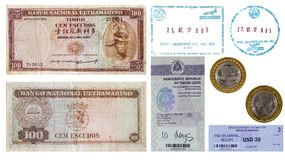 Timor leste money and visa stamp Stock Image