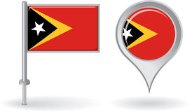 Timor-Leste pin icon and map pointer flag. Vector Stock Photo