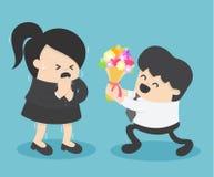 timore della donna di affari di amore dagli uomini d'affari maschii ai fiori I Fotografia Stock