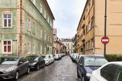 Timotei Popovich street in a rainy day in Sibiu city in RomaniaTimotei Popovich street in a rainy day in Sibiu city in Romania Stock Photos