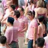 Timothy Nga wartet, um Pinkdot zu beginnen Lizenzfreie Stockfotos