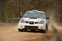 Timothy Penasack racing on Rally America in Salem Missouri Feb 2 Royalty Free Stock Image